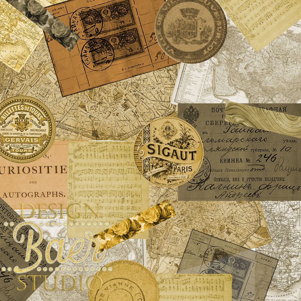 Vintage Passport Digital Paper Pack Digital Scrapbooking Baer