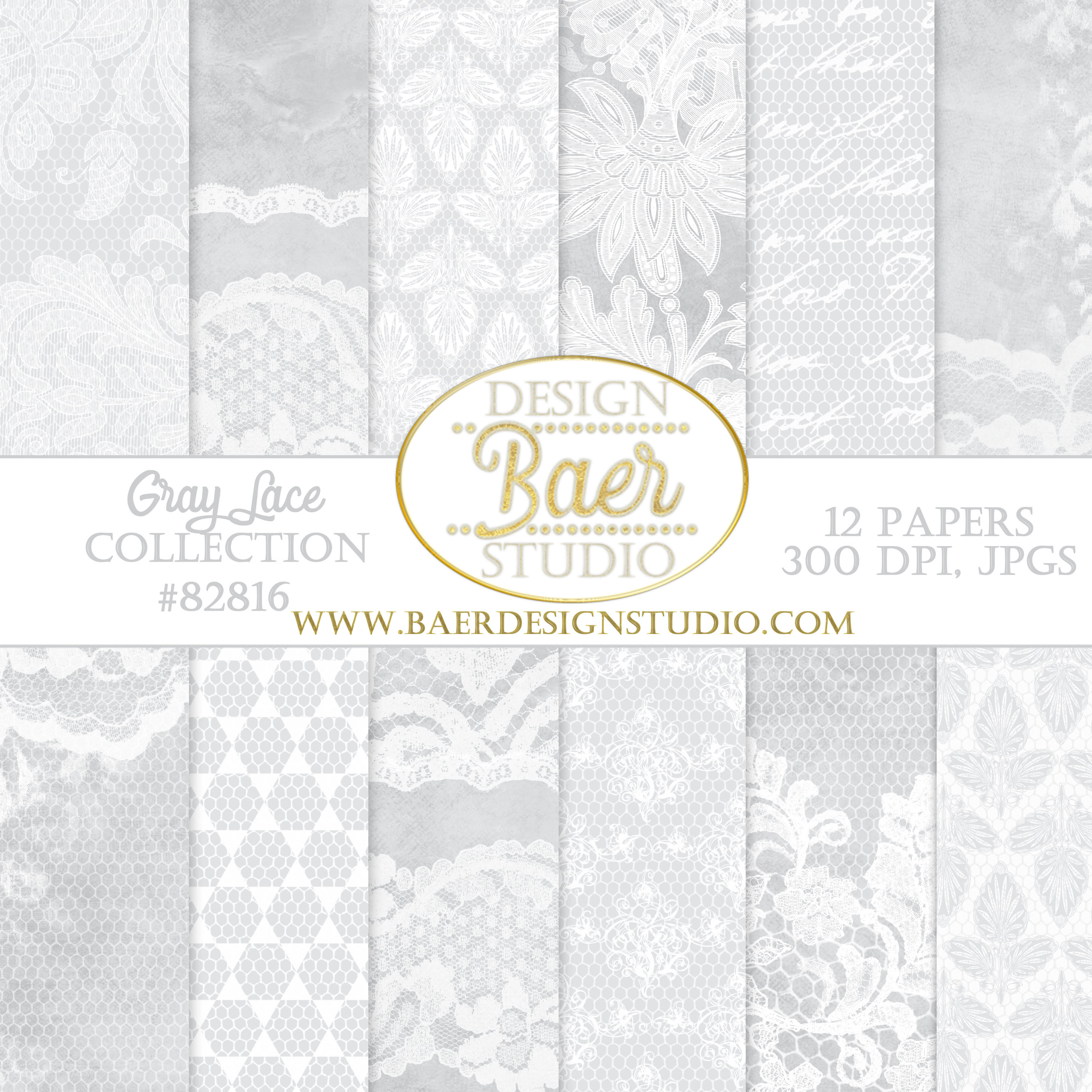 Scrapbook paper lace - Gray Damask And Lace Paper