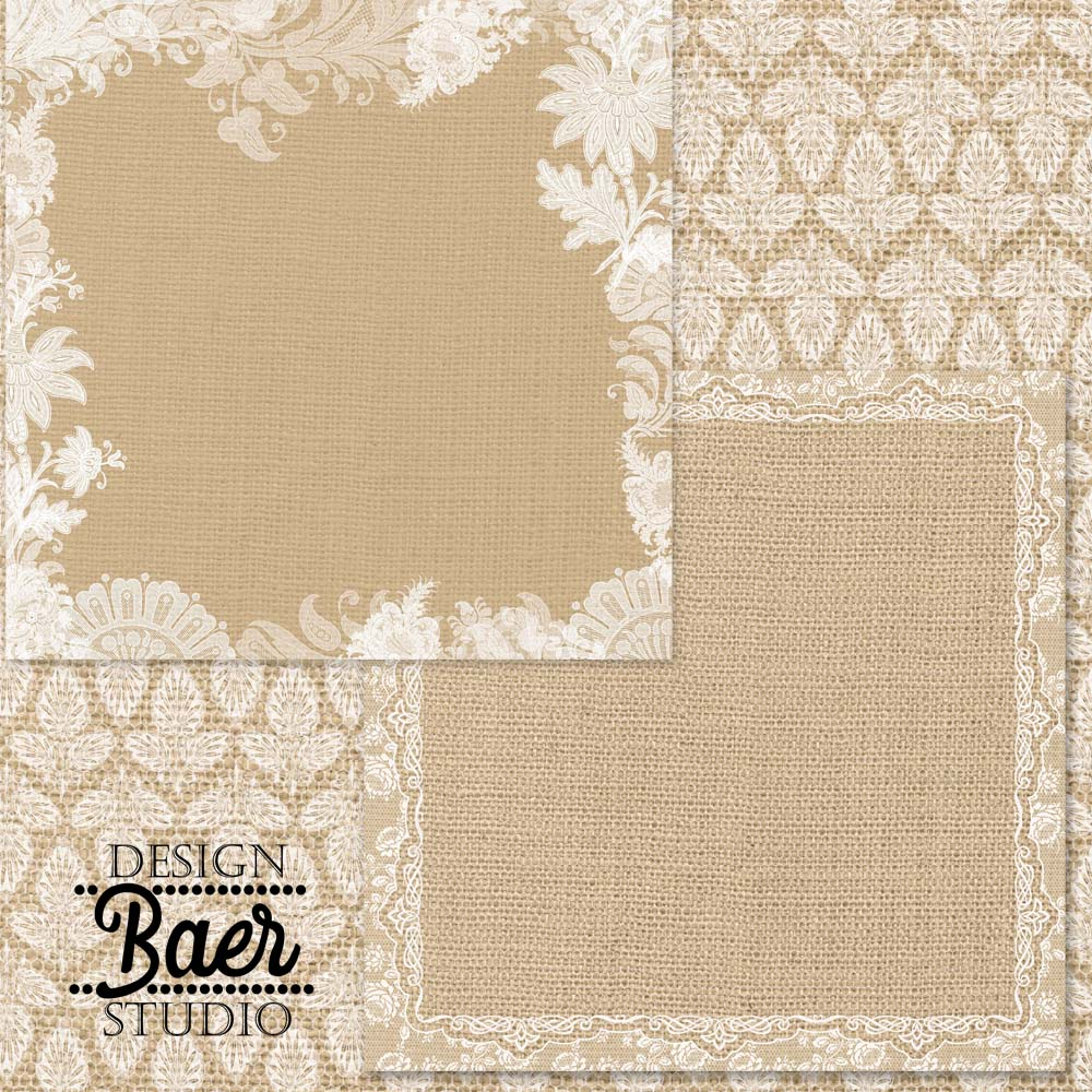 Scrapbook paper lace - Burlap And Lace Digital Paper Wedding Stationery