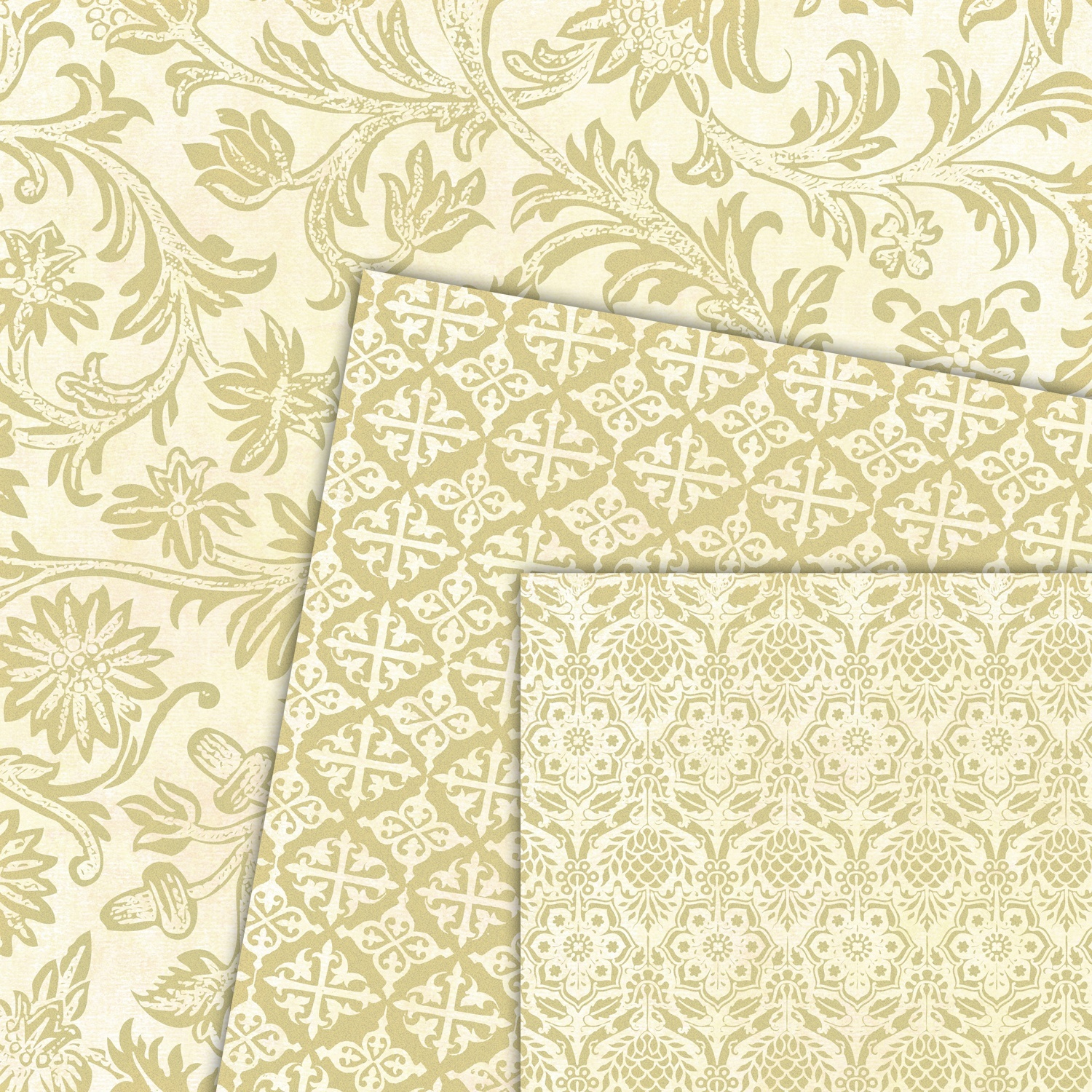 Gold Vintage Digital Scrapbook Paper Baer Design Studio