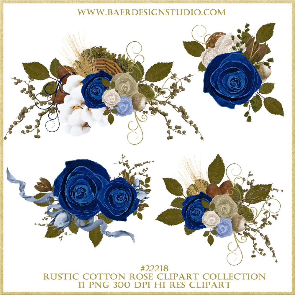 Blue Roses Clipart Border Floral