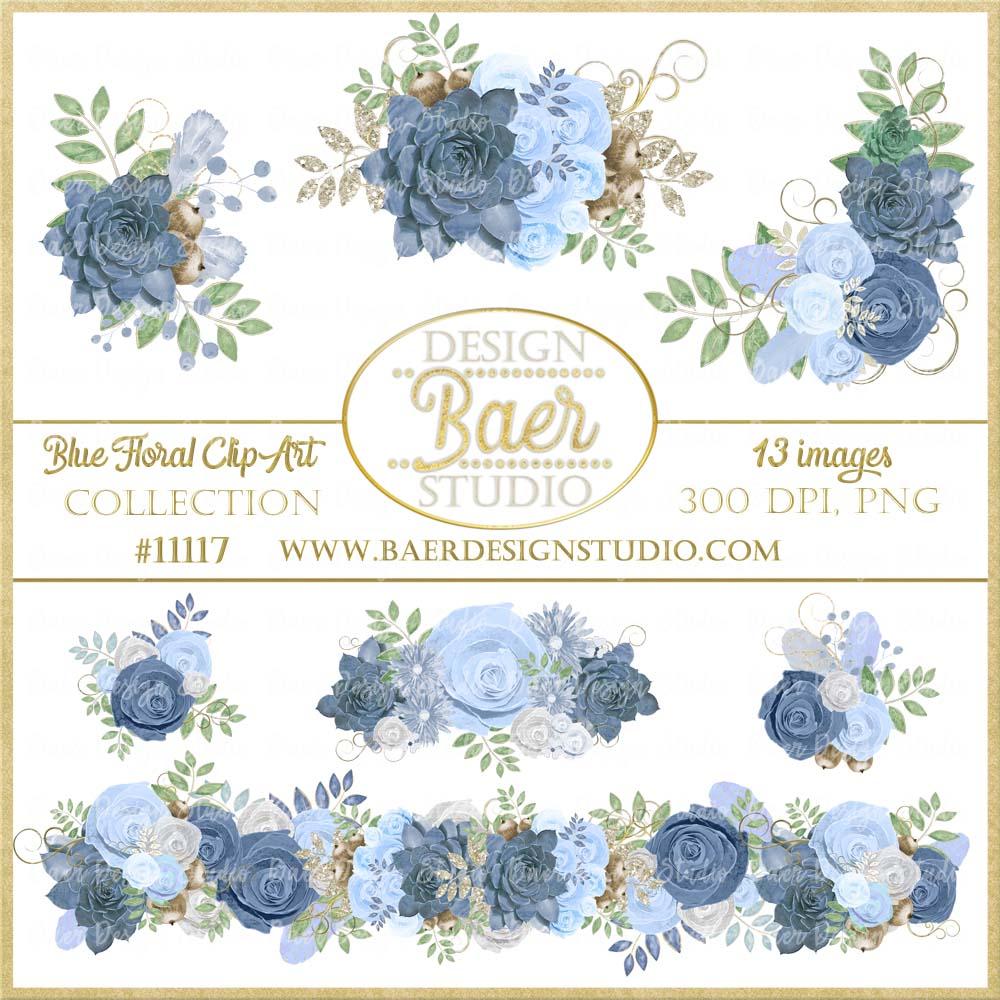 Home Digital Clip Art Blue Succulent Clipart Roses Border Floral