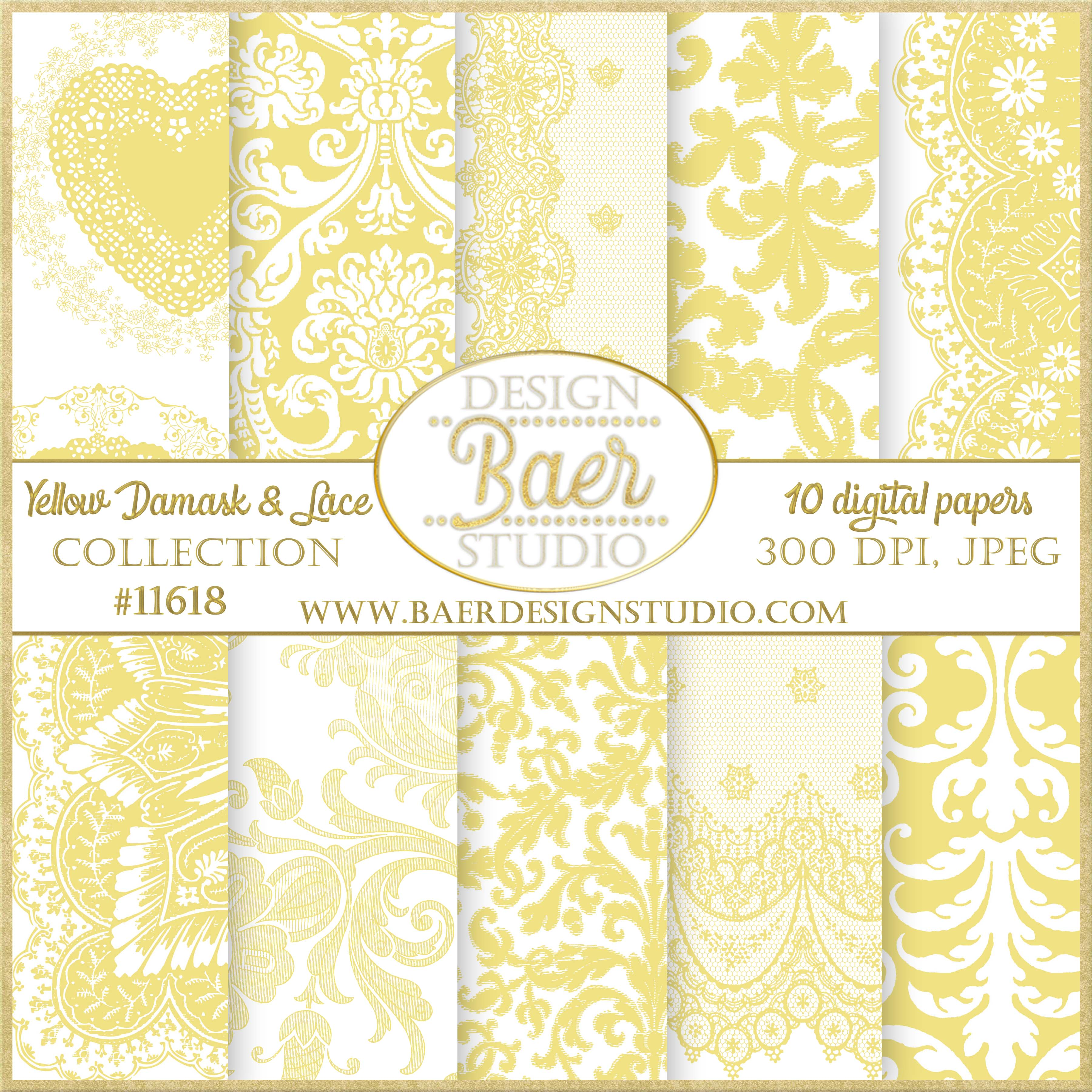Yellow Digital Paper Wedding Digital Scrapbook Paper Baer Design
