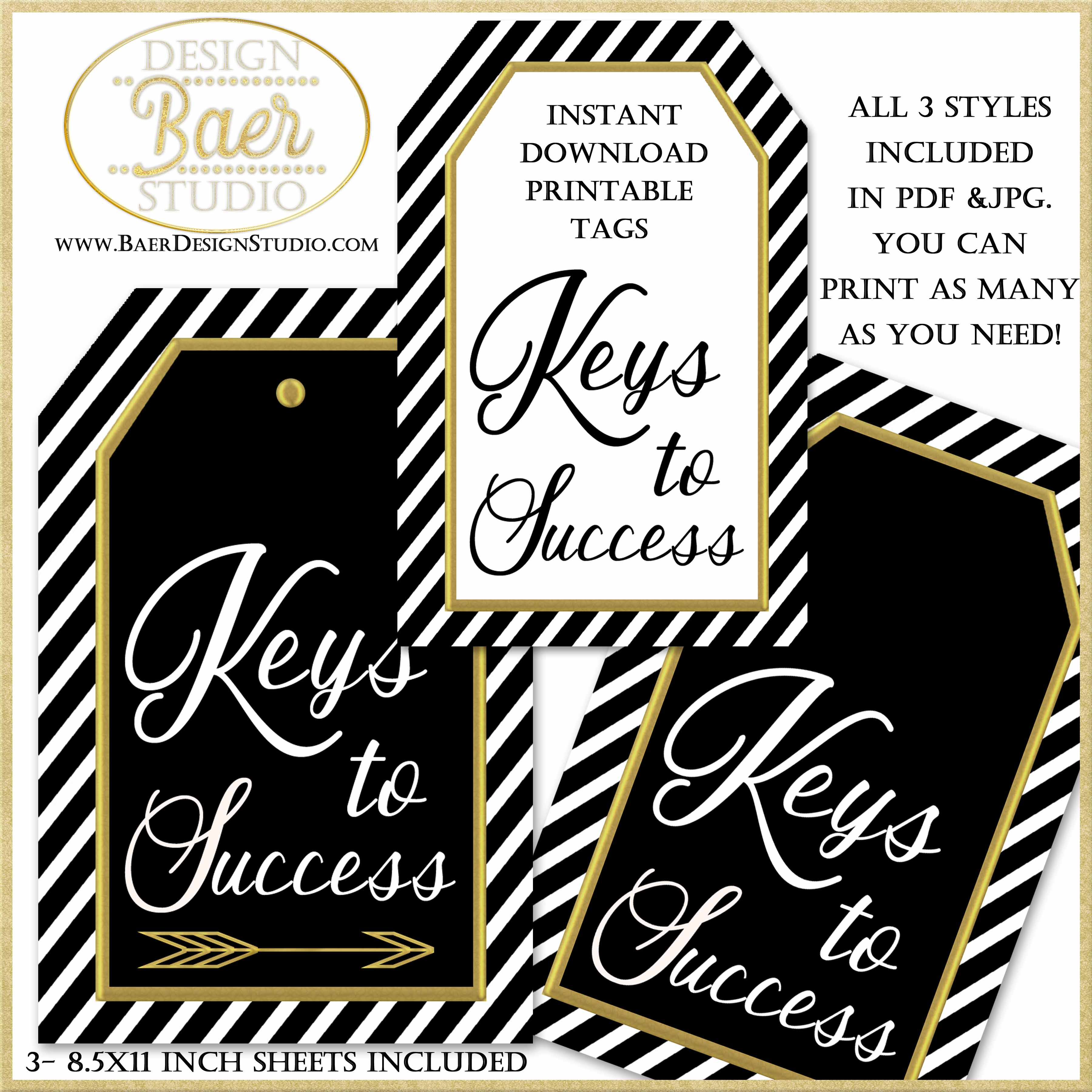 Keys To Success For Graduation Party Display Printable Tags